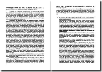 Commentaire d'arrêt du Conseil d'Etat du 22 février 2007 : Association du personnel Relevant des établissements pour inadaptés
