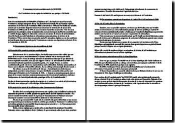 Commentaire de la loi constitutionnelle du 3 juin 1958