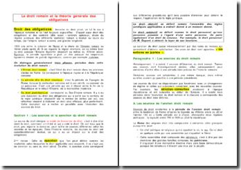 Le droit romain et la théorie générale des obligations