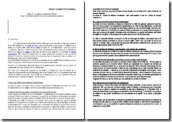 Le système constitutionnel allemand - Commentaire article 67 et 68 de la loi fondamentale allemande