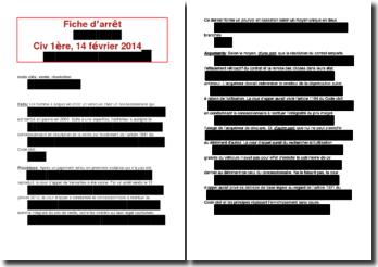 Fiche d'arrêt de la Première chambre civile de la Cour de cassation du 14 février 2014 : la résolution de la vente