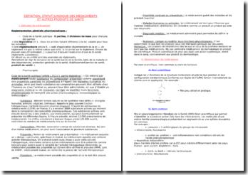 Définition, statut juridique des médicaments et autres produits de santé