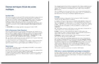 Diverses techniques d'étude des acides nucléiques