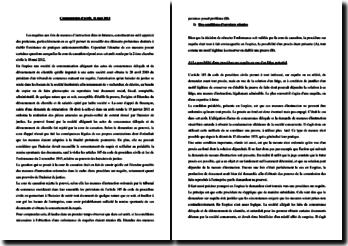 Commentaire d'arrêt, 16 mai 2012