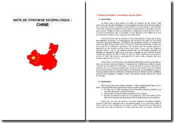 Synthèse géopolitique de la Chine