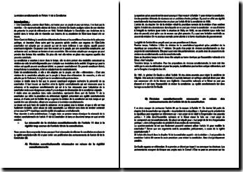 La révision constitutionnelle de l'Article 11 de la Constitution