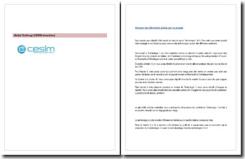 Rapport d'activité du jeu d'entreprise CESIM (Simulation de gestion)
