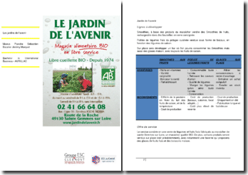 Etude cas: Jardin de l'avenir, magasin alimentaire bio en libre service