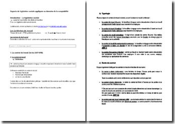 Aspects de législation sociale appliquée au domaine de la comptabilité