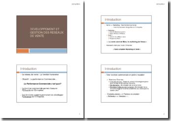 Développement et gestion des réseaux de vente (plan de l'exposé)