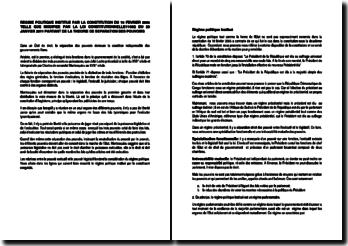 Régime politique institué par la Constitution du 18 février 2006 telle que modifiée par la loi constitutionnelle du 20 janvier 2011 partant de la théorie de séparation des pouvoirs