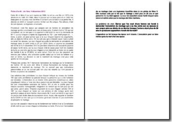 Fiche d'arrêt de la Première Chambre civile de la Cour de cassation du 4 décembre 2013 : l'annulation du mariage