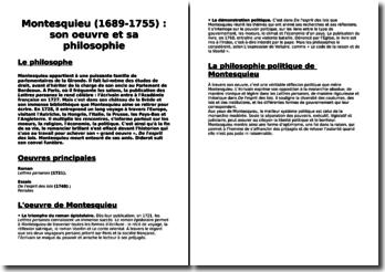 Montesquieu (1689-1755) : son oeuvre et sa philosophie