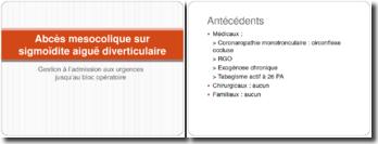Abcès mesocolique sur sigmoïdite aiguë diverticulaire : Gestion à l'admission aux urgences jusqu'au bloc opératoire