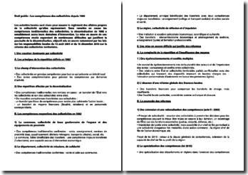 Droit public : Les compétences des collectivités depuis 1982