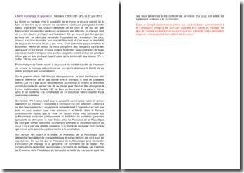 Liberté du mariage et opposition : décision du 22 juin 2012