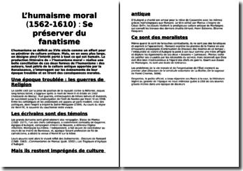 L'humaisme moral (1562-1610) : Se préserver du fanatisme