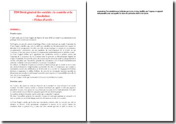 Droit général des sociétés : le contrôle et la dissolution - Fiches d'arrêt -