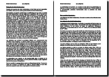 Les catégories de droits fondamentaux en Suisse