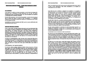 Droit International Public - Droit International et droit Interne