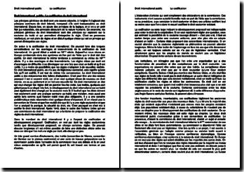 Droit international public - La codification du droit international