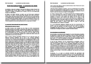 Droit International Public - La protection des droits humains