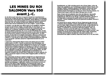 Les mines du roi Salomon vers 950 avant J.C
