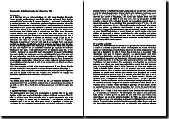 Commentaire de la Proclamation du 2 décembre 1851