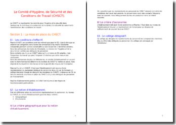 La mise en place du CHSCT (Comité d'Hygiène, de Sécurité et des Conditions de Travail)