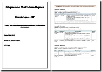 Séquences mathématiques : Ecrire une suite de nombres dans l'ordre croissant ou décroissant