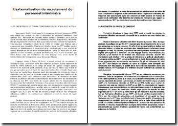 L'externalisation du recrutement du personnel intérimaire : le fonctionnement de l'entreprise de travail temporaire Adecco
