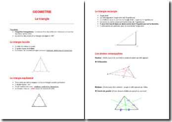 Support de cours de géométrie : le triangle