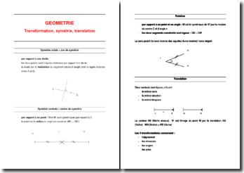 Support de cours de géométrie : Transformation, symétrie, translation