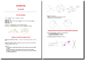 Support de cours de géométrie : Le cercle