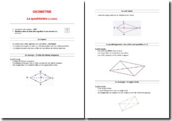 Support de cours de géométrie : Le quadrilatère (4 côtés)