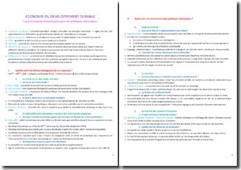 Economie du développement durable : Les instruments économiques pour les politiques climatiques