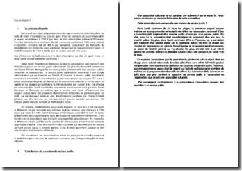Etude de cas sur le principe d'égalité et sur l'attribution du caractère de service public