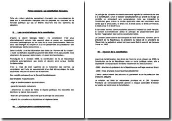 Fiche concours : La Constitution française