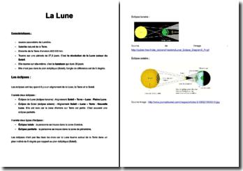 Présentation de la lune et explication des éclipses
