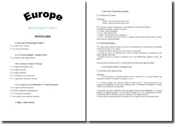 Qu'est-ce que l'Europe ?