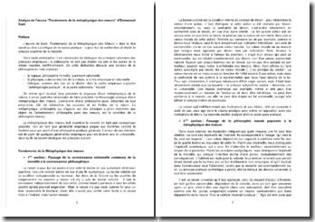 Analyse de l'oeuvre Fondements de la métaphysique des moeurs d'Emmanuel Kant