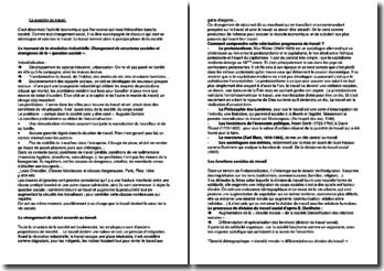 Statut et fonctions sociales du travail