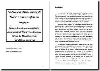 La Jalousie dans l'oeuvre de Molière : aux confins du tragique
