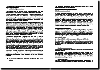 L'école du droit naturel moderne, ses fondements et les étapes de son développement (Suisse)