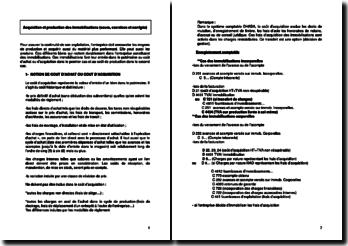 Acquisition et production des immobilisations (cours, exercices et corrigés)