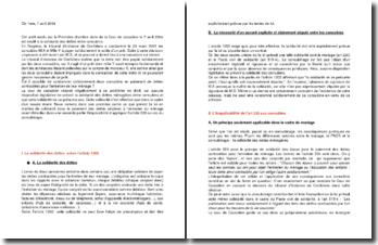 Commentaire d'arrêt de la Première Chambre civile de la Cour de cassation du 7 avril 2004 : la solidarité des dettes entre concubins