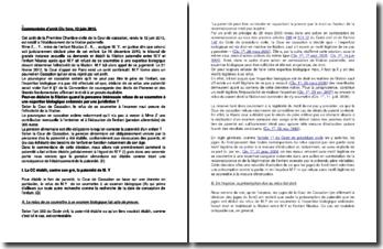 Commentaire d'arrêt de la Première Chambre civile de la Cour de cassation du 12 juin 2013 : l'établissement de la filiation paternelle