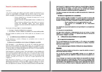 L'évolution des clauses limitatives de responsabilité (brouillon + correction)