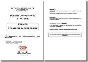 Sujets d'examen de stratégie d'entreprise de l'école ESC de Toulouse