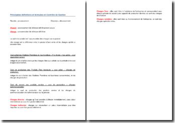 Principales définitions et formules en contrôle de gestion